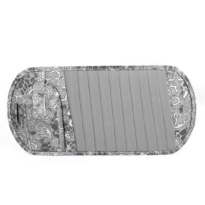 Gray Flower Print Nylon Car Visor CD DVD Card Case 10 Compartments Holder