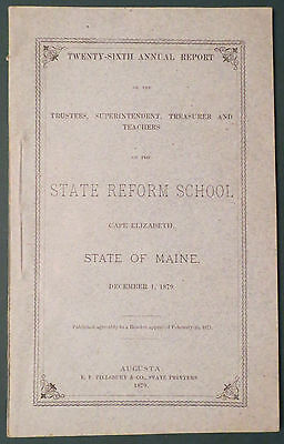 1879 26th Annual Report Maine State Reform School