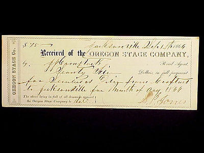 Orginal 1866 Oregon Stage Co. Payment For Driver