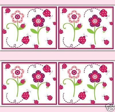 Ladybug Floral Wallpaper Border Wall Decals Baby Girl Nursery Childrens Decor