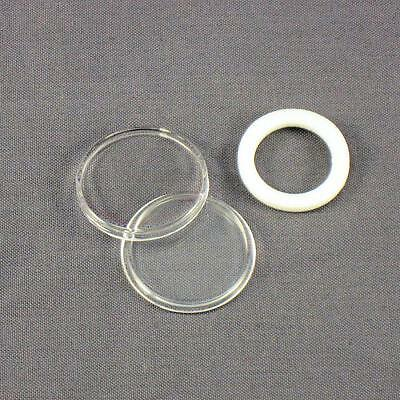 50 - White Ring 19mm Air-Tite Coin Holder Capsules for Cents / Pennies