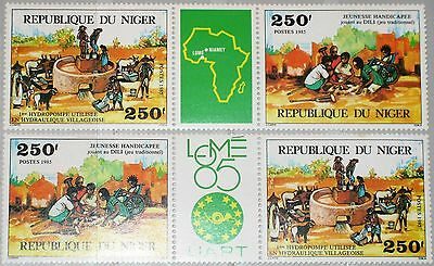 NIGER 1985 967-68 723a PHILEXAFRICA 85 III Lomé Water Pump Agriculture UAMPT MNH
