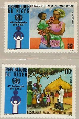 NIGER 1988 1047-48 787-88 40th Ann WHO Universal Immunization Campaign MNH