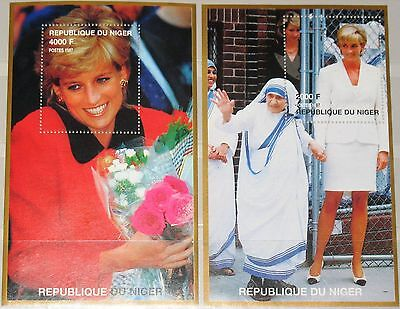 NIGER 1998 Block 110-11 S/S 946-47 Princess Diana Mother Teresa Charity MNH
