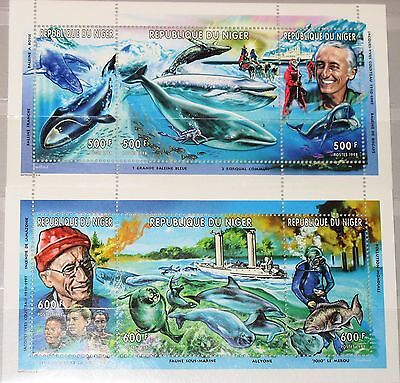 NIGER 1998 Klb 1620-25 MS 993-94 Jacques Yves Cousteau Whales Wale Delfins MNH