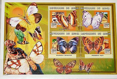 NIGER 1999 Klb 1729-32 MS 1036 Schmetterlinge Butterflies Fauna Insects MNH