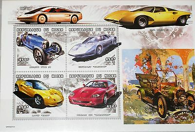 NIGER 1999 Klb 1737-40 MS 1041 Cars Autos Automobiles Lotus Chevrolet Ferrari**