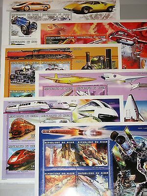 NIGER 1999 Klb 1737-60 MS 1041-46 Verkehrsmittel Cars Trains Airplanes Space MNH