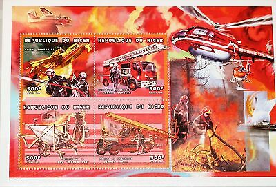 NIGER 1999 Klb 1741-44 MS 1042 Fire Fighting Engines Cars Airplane Autos MNH