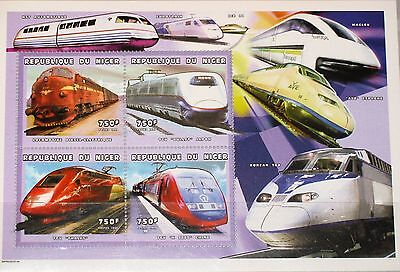 NIGER 1999 Klb 1753-56 MS 1045 Trains Züge Eisenbahn Railroad Locomotives MNH