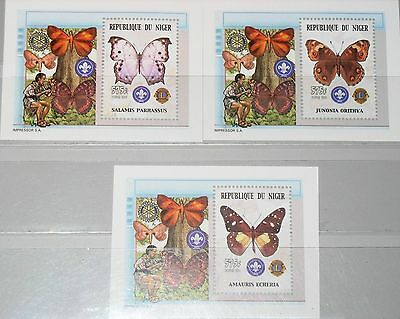 NIGER 2002 Block 136-38 A S/S 1085a-c Schmetterlinge Butterflies Fauna Insects**