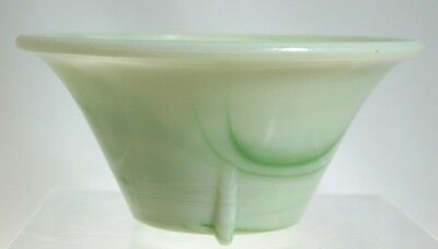 Akro Agate - No. 340 - DART - 3-Toed Bowl - Marbleized Green