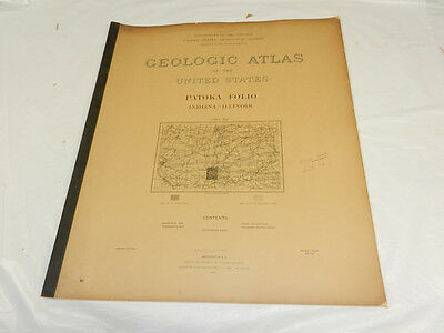 1904 USGS GEOLOGIC FOLIO No. 105/PATOKA Quadrangle/2 Full Page Maps/IL, IN