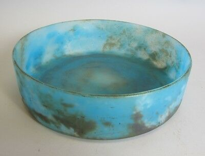 "Fine French Art Deco 10"" Blue Mottled Glass Bowl  C. 1920  Antique vase"