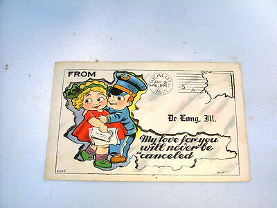 VINTAGE VALENTINE POSTCARD 1915 MY LOVE FOR YOU WILL NEVER BE CANCELLED