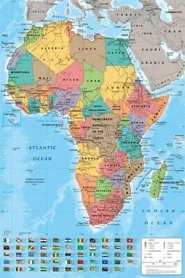 GEOGRAPHY POSTER ~ AFRICA MAP 24x36 Continent Flags World Earth NEW/ROLLED!