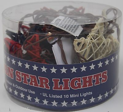 4th of July 10 Red White & Blue Rattan Star Lights Set Indoor/Outdoor NIP