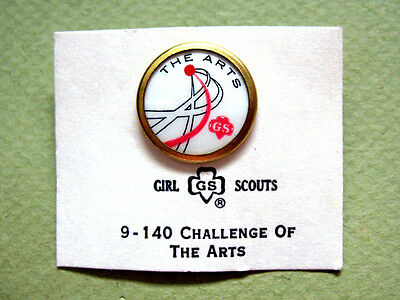 THE ARTS Girl Scout CHALLENGE PIN 1970s Cadette & Senior NEW on CARD