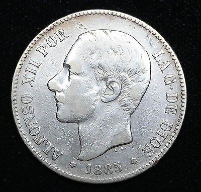 Spain 5 Pesetas 1885(86) MS-M VF/EF silver crown KM#688 5P Alfonso XII SALE.