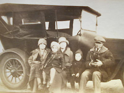 Old Photograph - Family Sitting By Car Along St. Lawrence River NY 1924