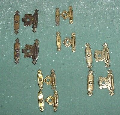 Antq Lot 4 Pairs Brass Hinged Clasps Journal Diary Bible Jewelry Box Spare Part