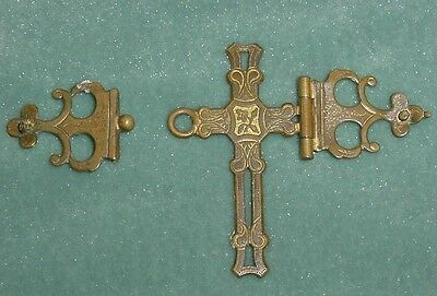 Antique Set Brass Hinged Cross Clasps Victorian Bible Missal Journal Spare Part
