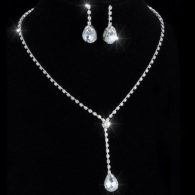 Drop Silver Crystal Wedding Necklace Earrings Jewelry Set Bridal Bridesmaid Gift
