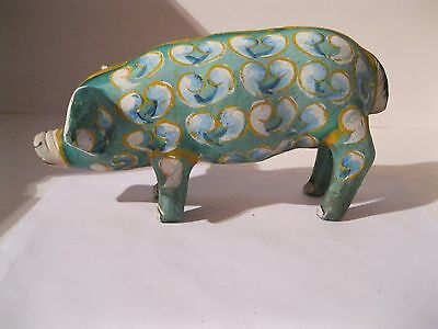 Vintige Unique Handcrafted and Handpainted Pig Piggy Bank