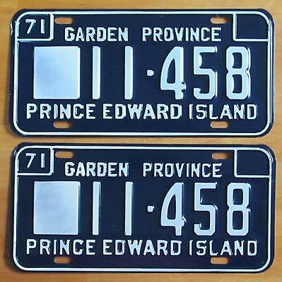 Prince Edward Island 1971 License Plate PAIR # 11-458