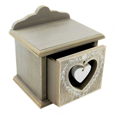 Rustic Heart Decorative Storage Box With Drawer Vintage Shabby Chic RH0007