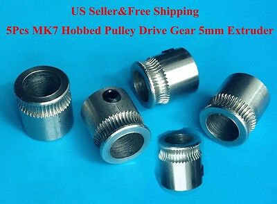 5Pcs MK7 Hobbed Pulley Drive Gear 5mm 3D Printer Extruder For RepRap Makerbot