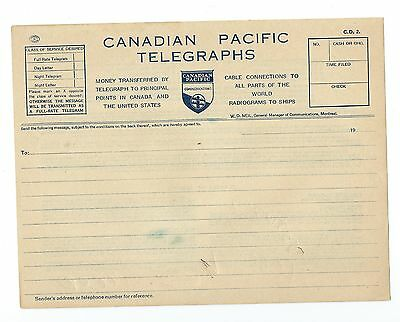 Canadian Pacific Communications Telegrapgh unused message form, 1932