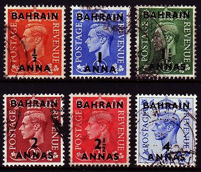 Bahrain 1950 Mi.70/75 SG 71-76 fine used Definitives part set ovpt. on GB (g814)