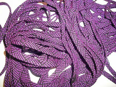 "Lot Of 12 Pair 34"" Long Flat Unisex Shoe Laces Strings Black & Bright Purple New"