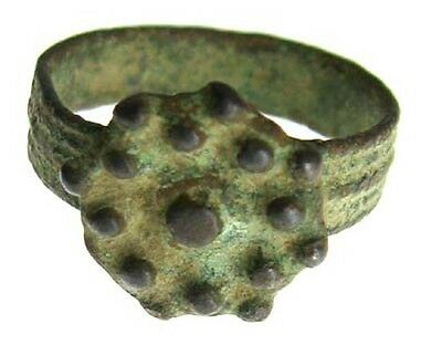 ANCIENT ROMAN BRONZE RING WITH SHIELD c. 200 - 300 AD - SIZE 4 #51