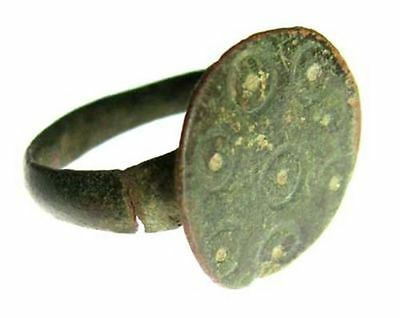 ANCIENT BYZANTINE BRONZE RING c. 500 AD - SIZE 4 #30