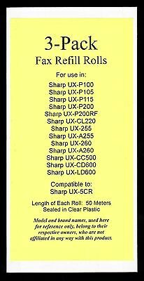 3-pack of UX-5CR Fax Refills for Sharp UX-255 UX-A255 UX-260 UX-A260 UX-CL220
