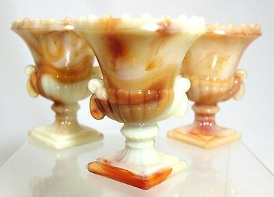 Akro Agate - Beaded Top Urns - (3) - Carmel Swirl