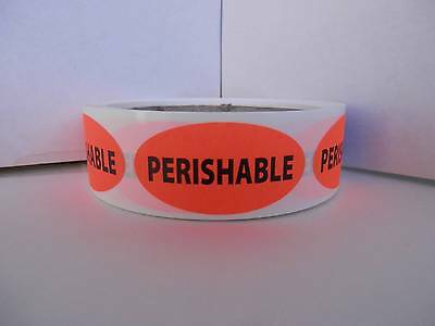 PERISHABLE 1x2 oval fluorescent red/orange stickers labels 250/rl
