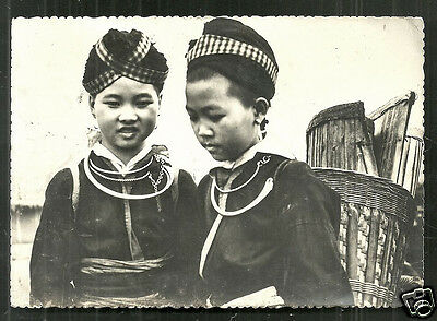 Laos rppc Girl Costume Lat-Huang Xiangkhouang Mission 60s