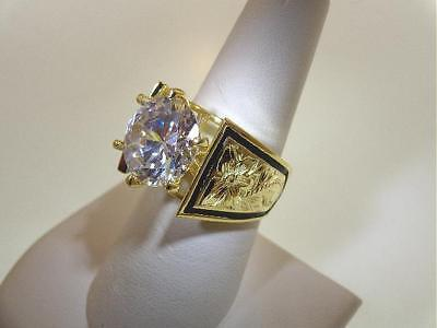 14K Yellow Gold Over Silver Hawaiian Scroll 11.83Cts Cz Enamel French Mount Ring