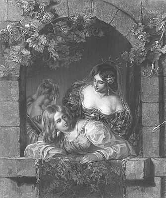 PRETTY YOUNG WOMEN GIRLS WEDDING BRIDE AT WINDOW ~ Old 1853 Art Print Engraving