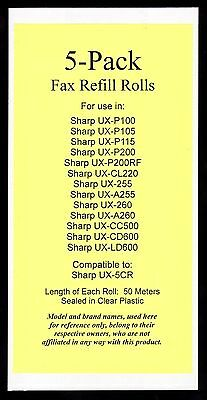 5-pack UX-5CR Fax Refills for Sharp UX-P200 UX-CL220 UX-CC500 UX-CD600 UX-LD600