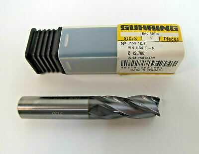 "Guhring 6757 Nano SI Coated 4 Flute 1//4 x 1//4 x 1//2 x 2 1//2/"" Carbide End Mill"