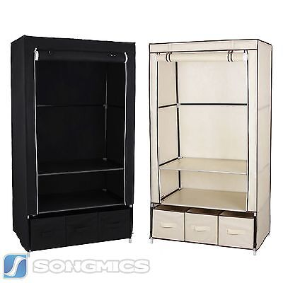 kleiderschrank textil schrank schubladen faltschrank campingschrank stoffschrank. Black Bedroom Furniture Sets. Home Design Ideas