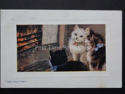 Greeting: Pretty Cat Around Fire HOME SWEET HOME - IN PUSSYLAND c1908 by Tuck