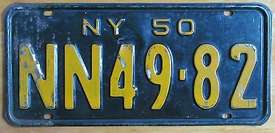 New York 1950 SINGLE PLATE YEAR License Plate # NN49-82