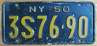 New York 1950 SINGLE PLATE YEAR License Plate # 3S76-90