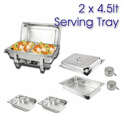 2x4.5L STAINLESS STEEL BAIN MARIE CHAFING DISH, Bow Stackable Buffet Food Warmer