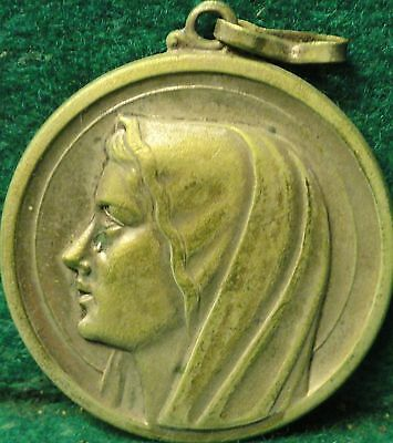 "OUR LADY OF FATIMA / APPARITION Vtg VERY LARGE 1,38"" MEDAL"
